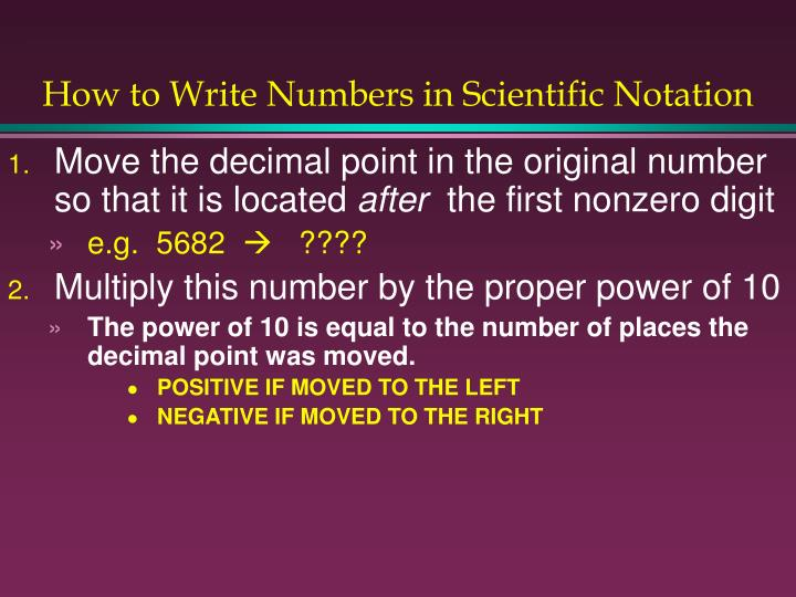 How to Write Numbers in Scientific Notation