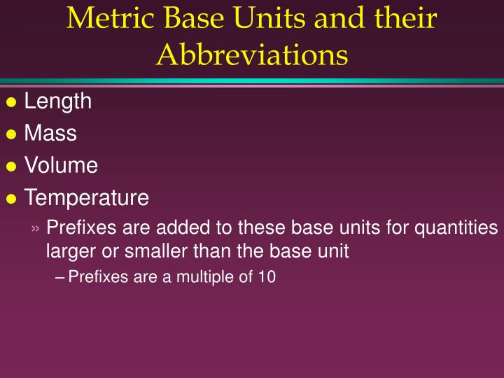 Metric Base Units and their Abbreviations