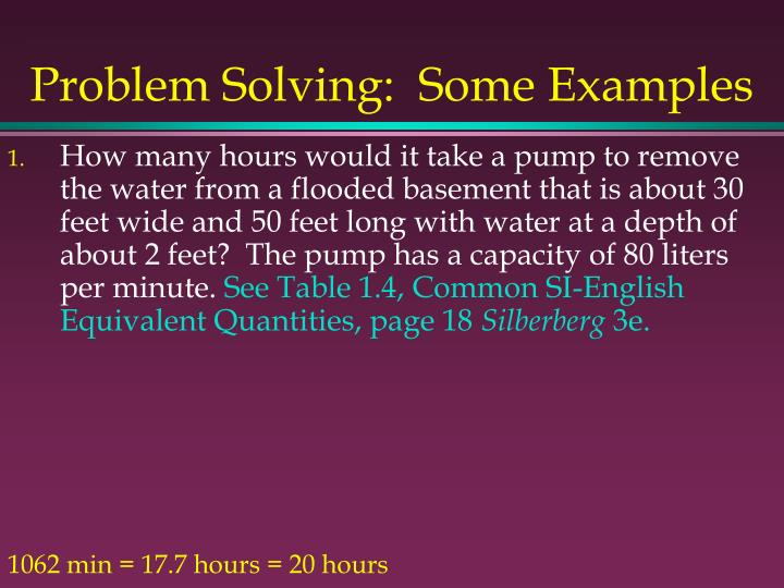 Problem Solving:  Some Examples