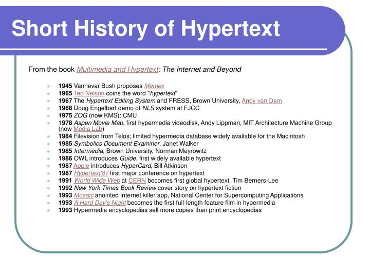 Short History of Hypertext