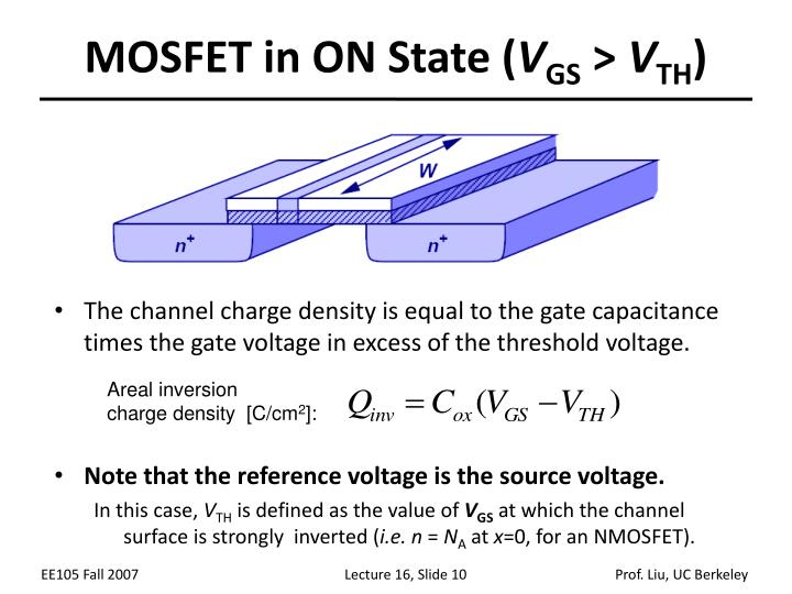The channel charge density is equal to the gate capacitance times the gate voltage in excess of the threshold voltage.