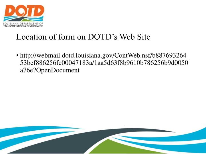 Location of form on dotd s web site