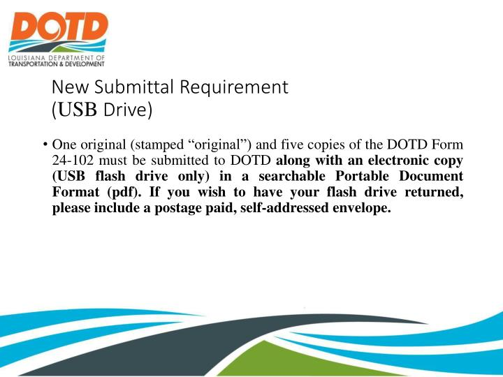 New Submittal Requirement