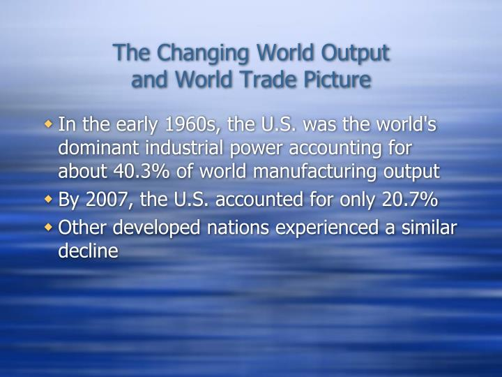 The Changing World Output