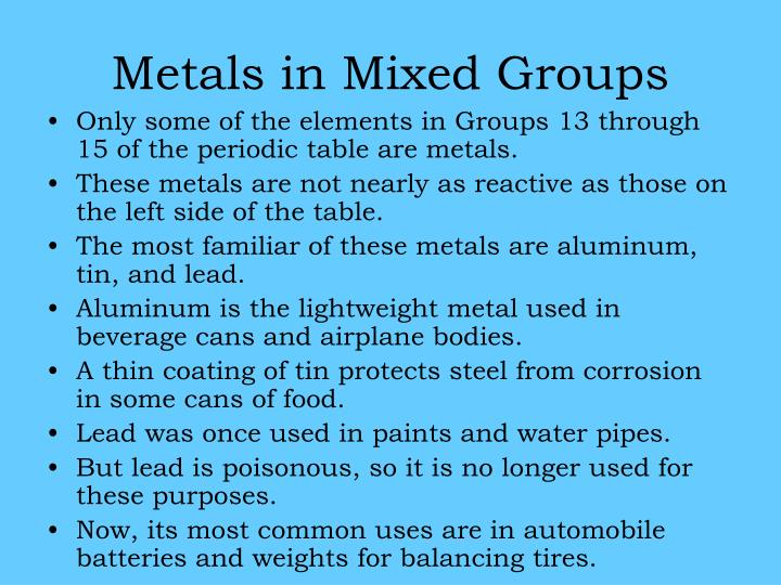 Metals in Mixed Groups