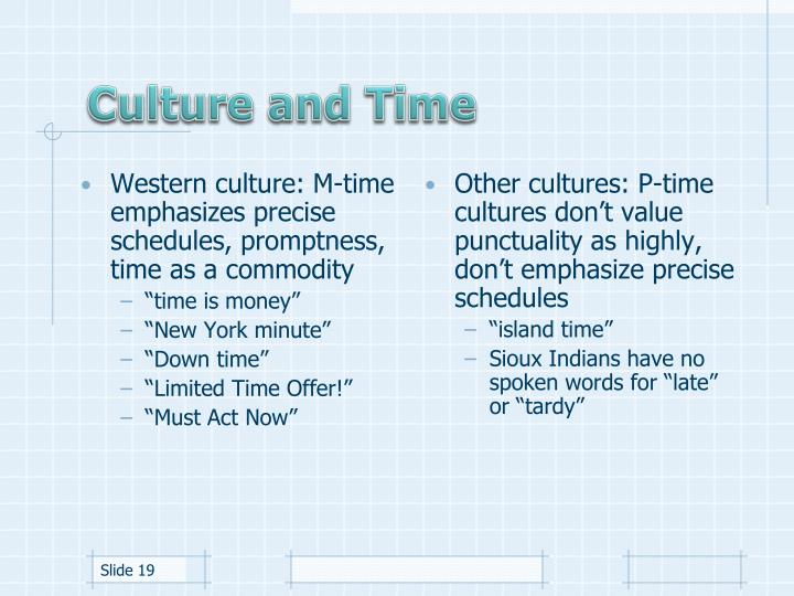 Western culture: M-time emphasizes precise schedules, promptness, time as a commodity