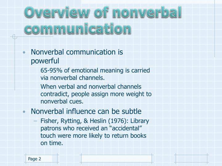 Overview of nonverbal communication