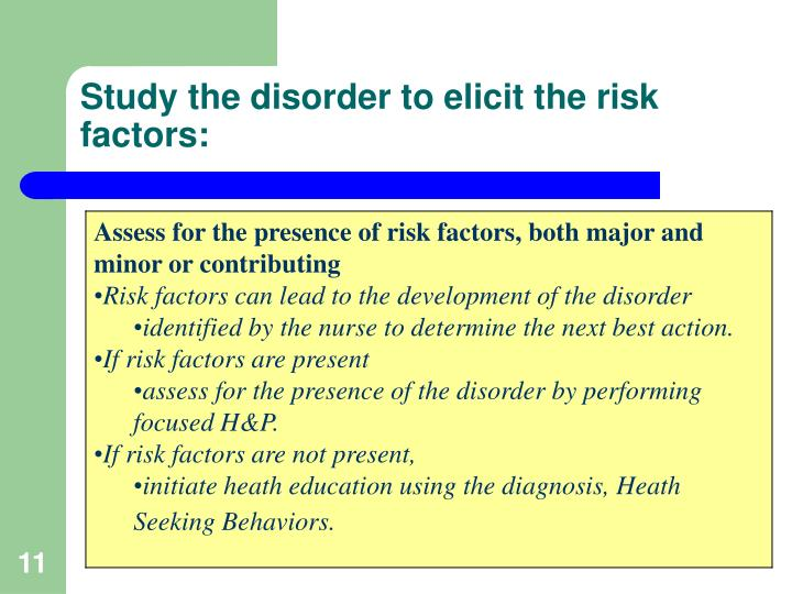 Study the disorder to elicit the risk factors: