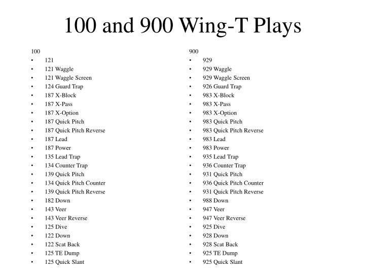 100 and 900 wing t plays