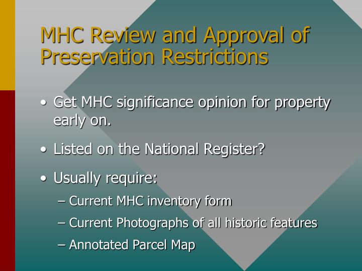 MHC Review and Approval of Preservation Restrictions