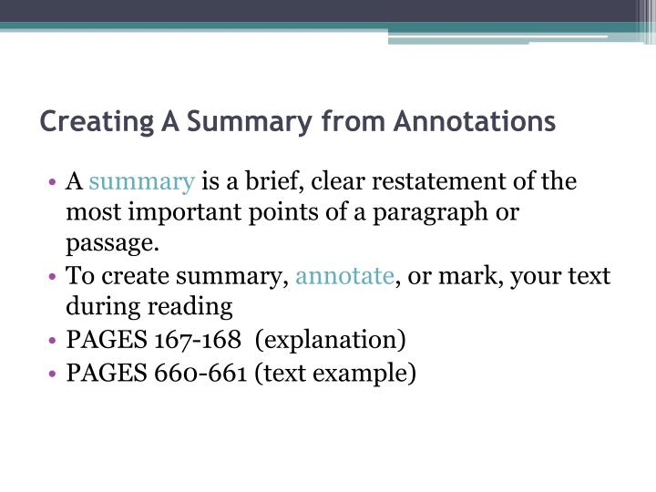 Creating A Summary from Annotations