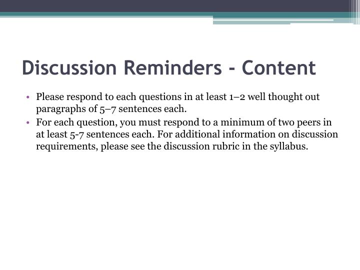 Discussion Reminders - Content