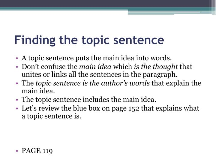 Finding the topic sentence