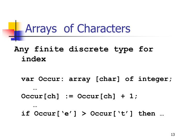 Arrays  of Characters