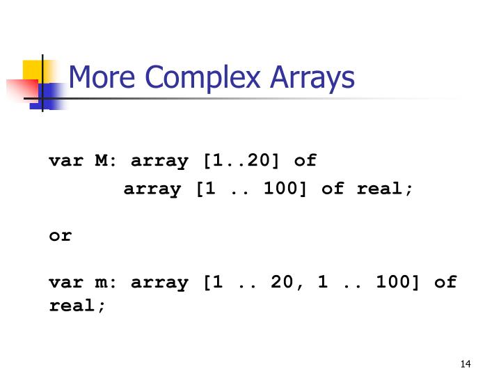 More Complex Arrays