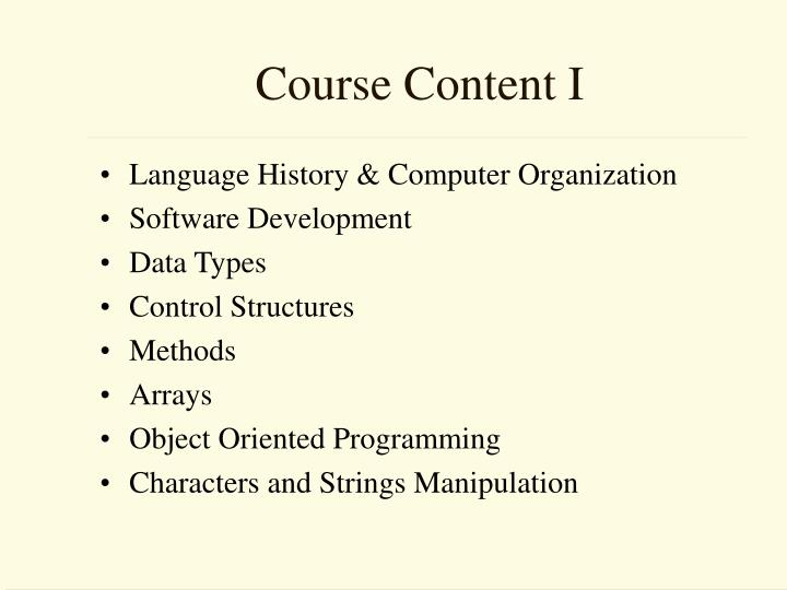 Course Content I