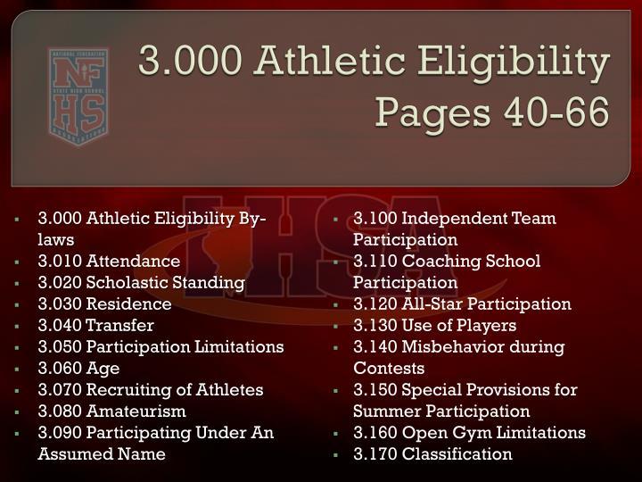 3.000 Athletic Eligibility