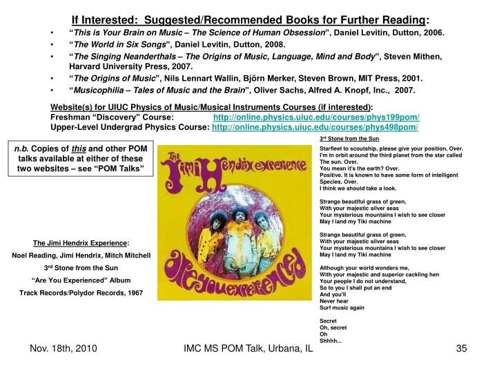 If Interested:  Suggested/Recommended Books for Further Reading