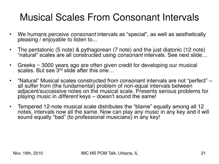 Musical Scales From Consonant Intervals
