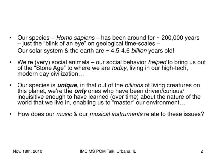 Our species –