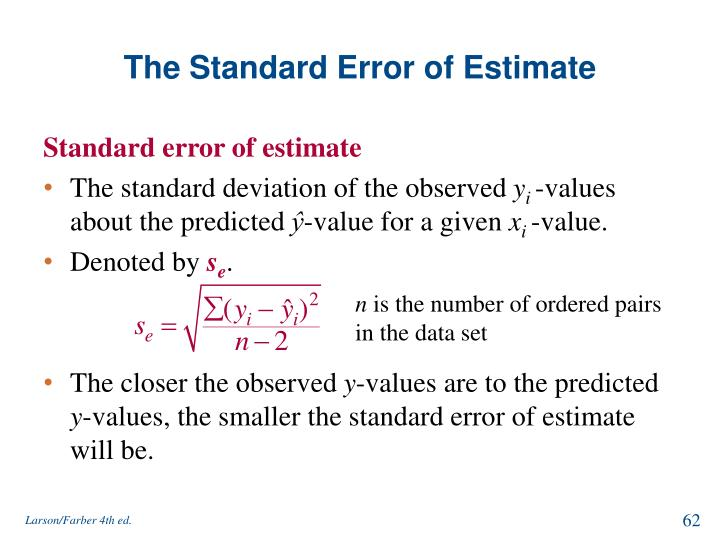 The Standard Error of Estimate