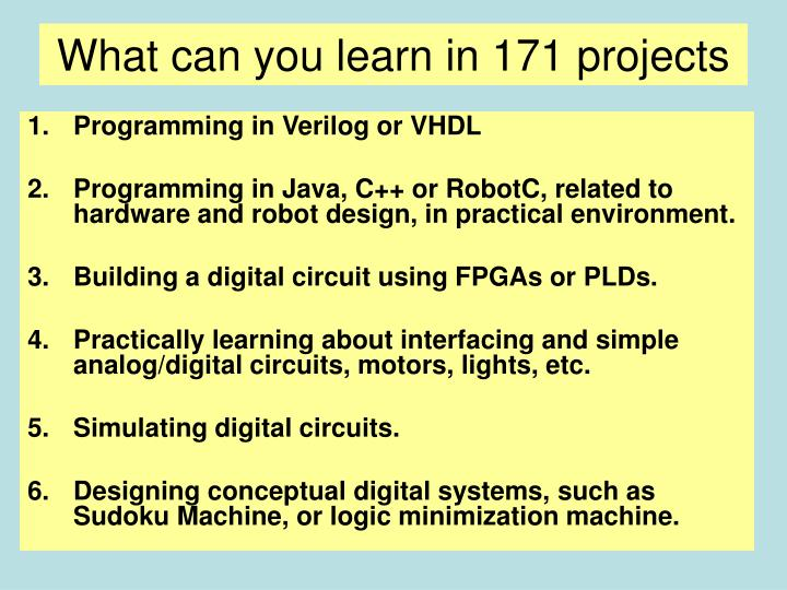 What can you learn in 171 projects