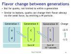 flavor change between generations