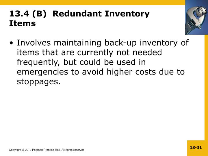 13.4 (B)  Redundant Inventory Items