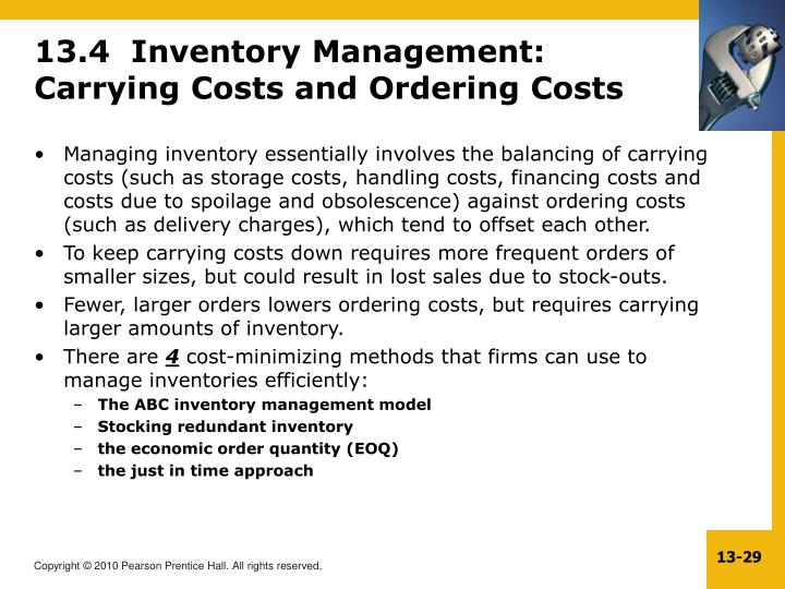 13.4  Inventory Management: Carrying Costs and Ordering Costs