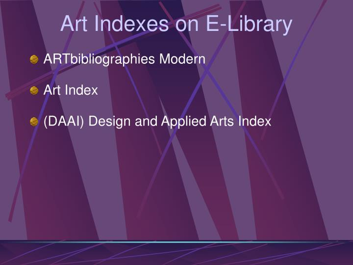 Art Indexes on E-Library