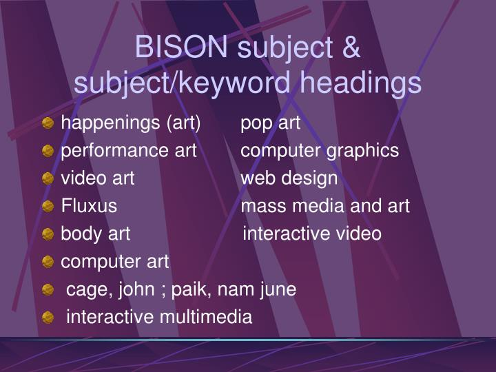 Bison subject subject keyword headings