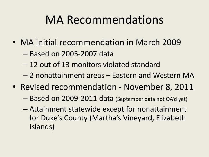 Ma recommendations