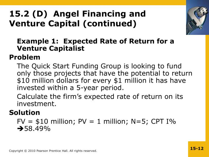 15.2 (D)  Angel Financing and Venture Capital (continued)