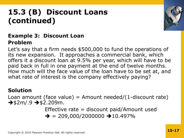 15.3 (B)  Discount Loans (continued)