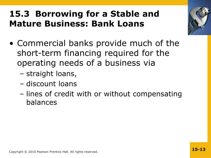 15.3  Borrowing for a Stable and Mature Business: Bank Loans