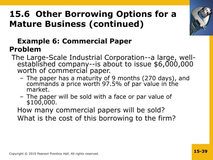 15.6  Other Borrowing Options for a Mature Business (continued)