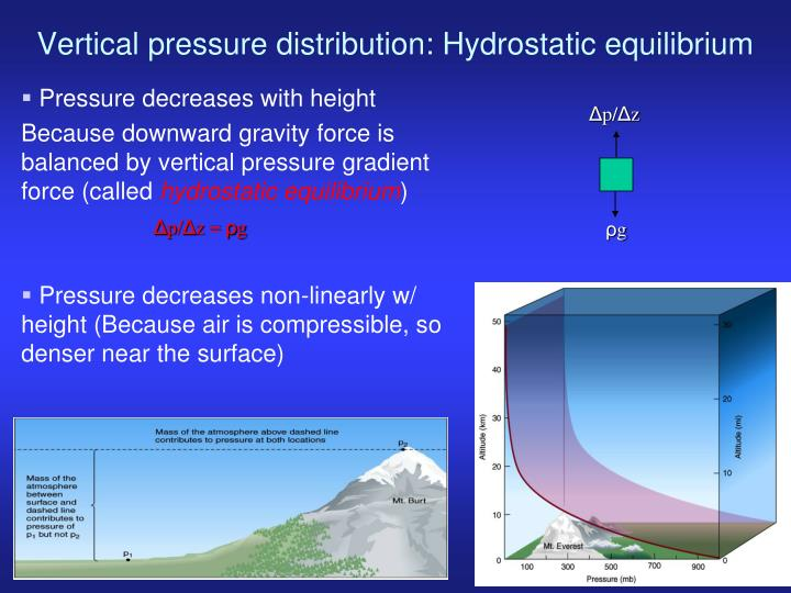 Vertical pressure distribution: Hydrostatic equilibrium