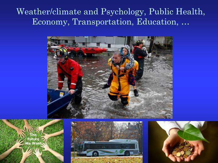 Weather/climate and Psychology, Public Health, Economy, Transportation, Education, …