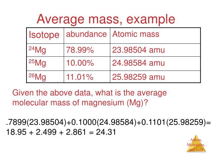 Average mass, example