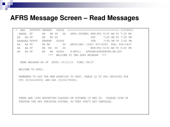 AFRS Message Screen – Read Messages