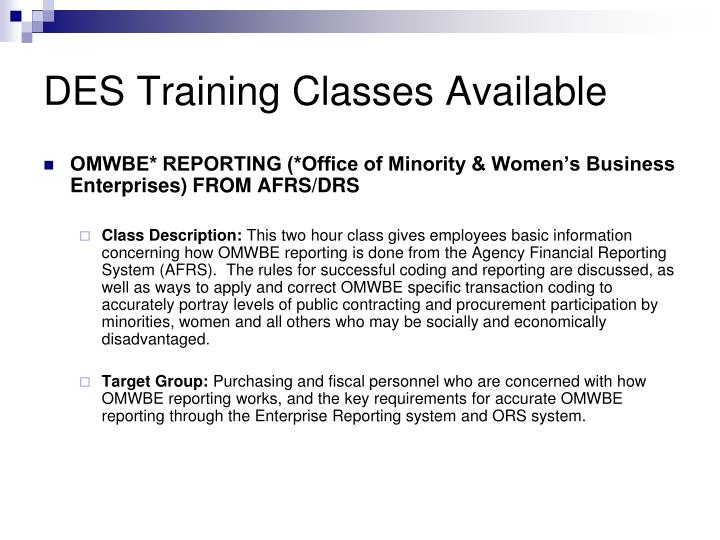 DES Training Classes Available