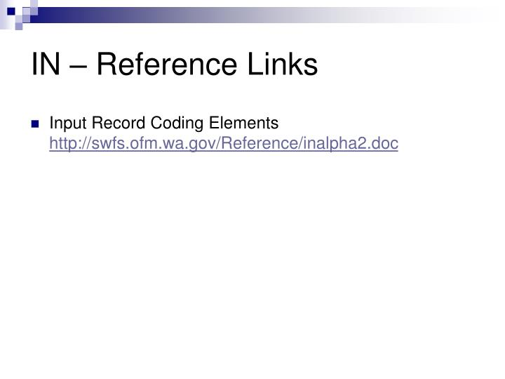 IN – Reference Links