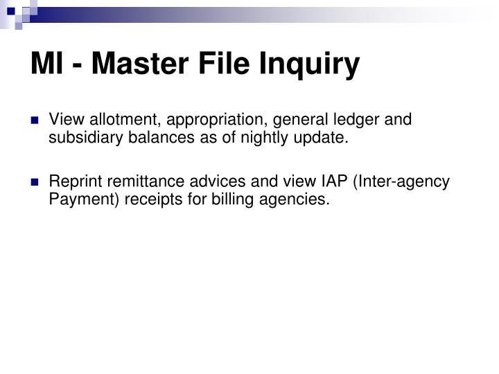MI - Master File Inquiry
