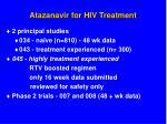 atazanavir for hiv treatment
