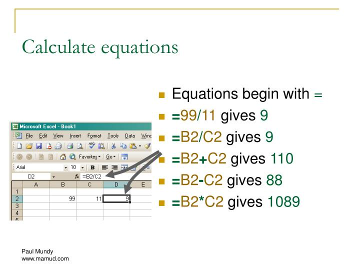Calculate equations