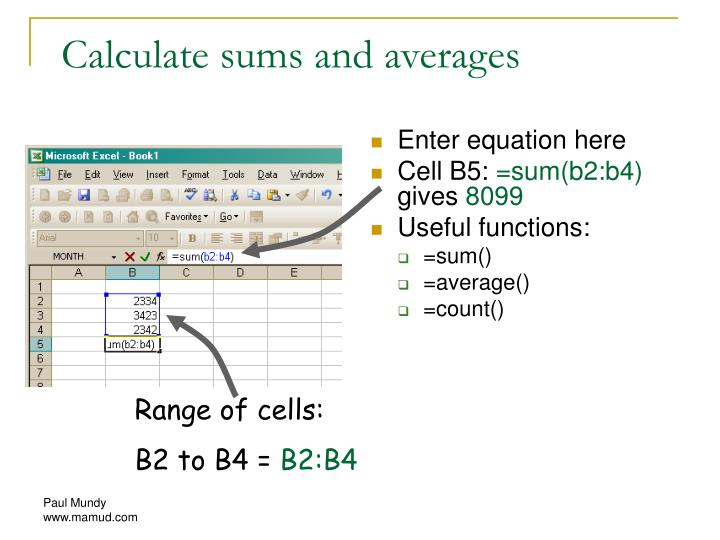 Calculate sums and averages