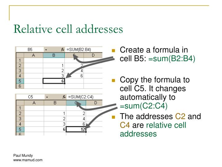 Relative cell addresses