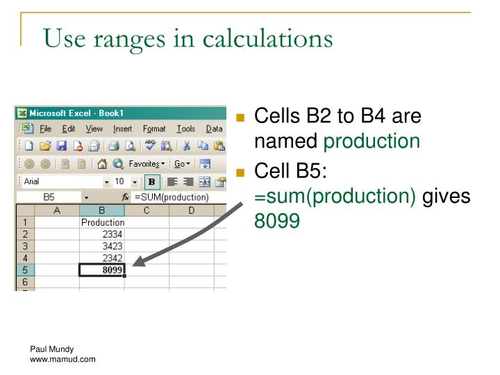 Use ranges in calculations