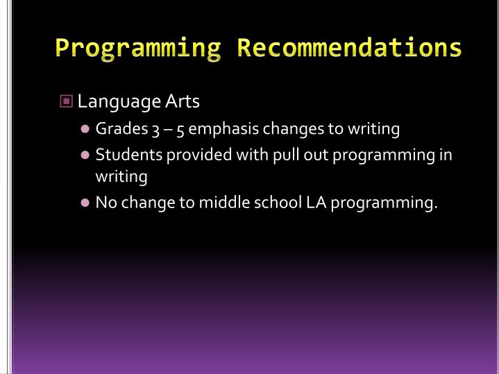 Programming Recommendations