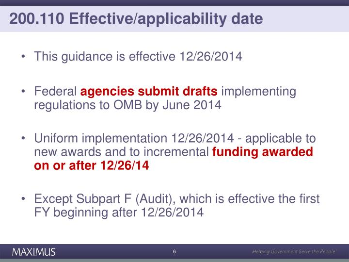 200.110 Effective/applicability